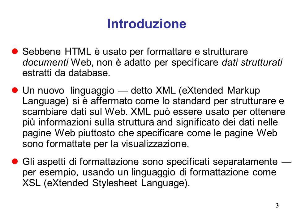 Introduzione Sebbene HTML è usato per formattare e strutturare documenti Web, non è adatto per specificare dati strutturati estratti da database.