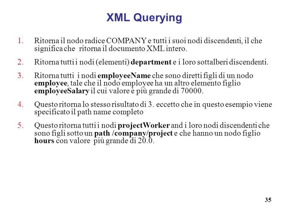 XML Querying Ritorna il nodo radice COMPANY e tutti i suoi nodi discendenti, il che significa che ritorna il documento XML intero.