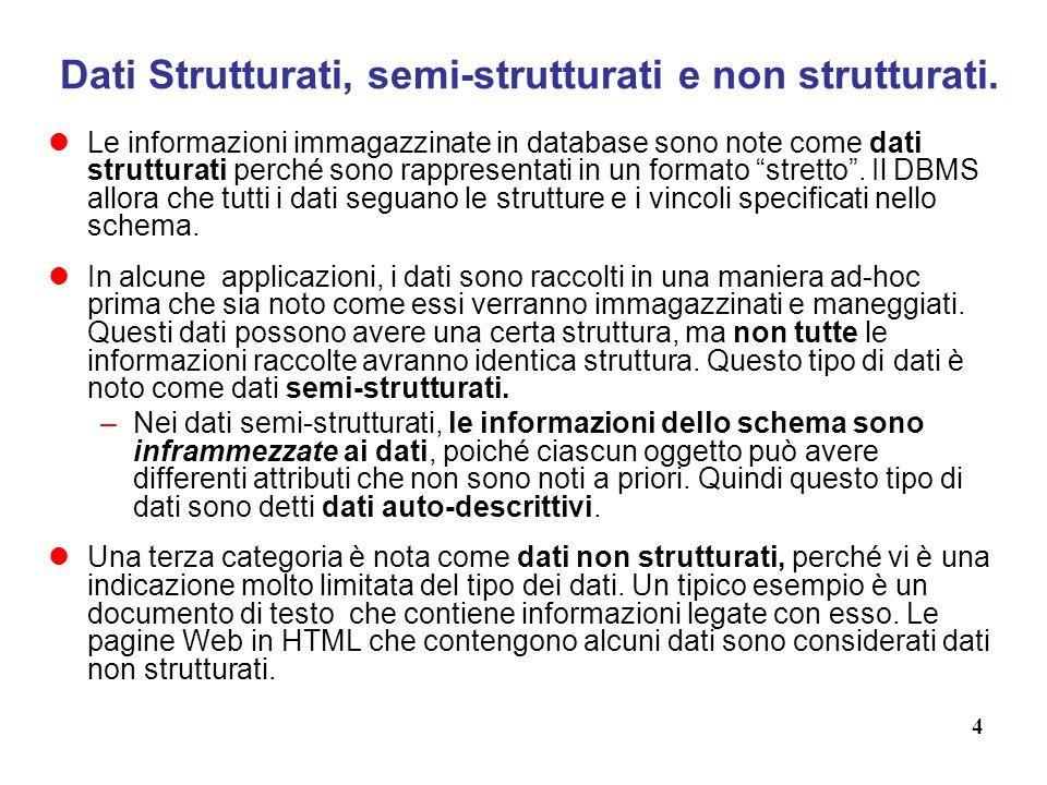 Dati Strutturati, semi-strutturati e non strutturati.