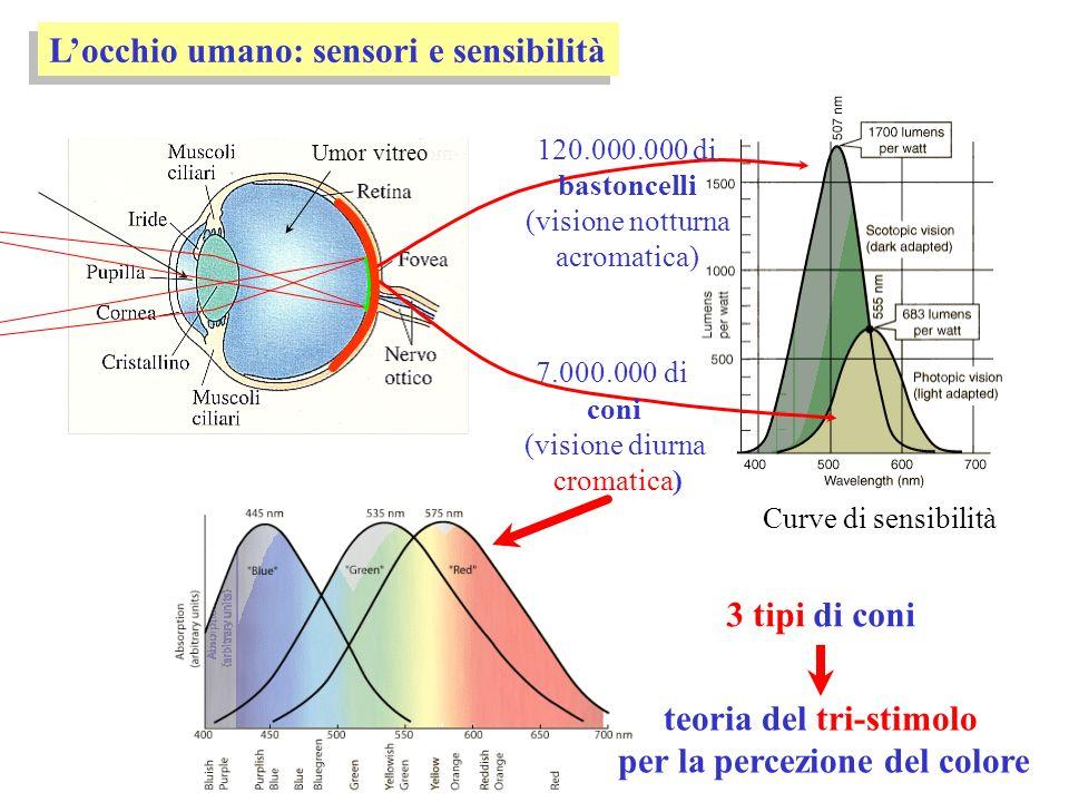 teoria del tri-stimolo per la percezione del colore