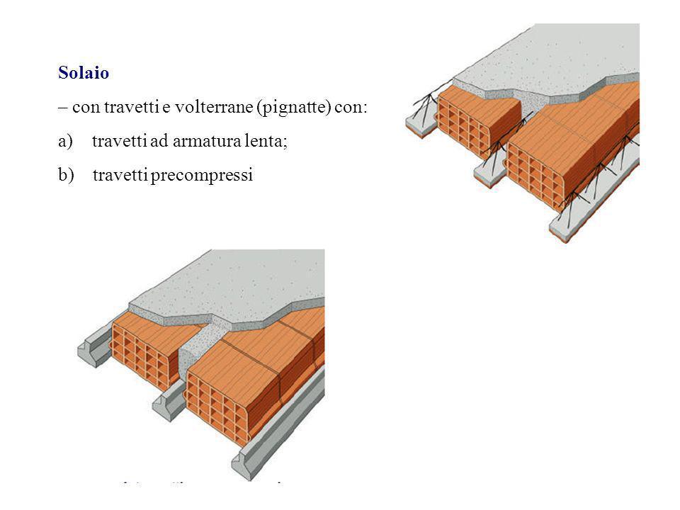 Solaio – con travetti e volterrane (pignatte) con: travetti ad armatura lenta; b) travetti precompressi.