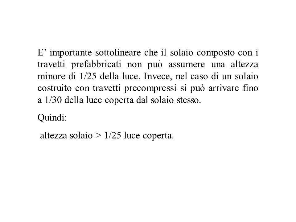 E' importante sottolineare che il solaio composto con i travetti prefabbricati non può assumere una altezza minore di 1/25 della luce. Invece, nel caso di un solaio costruito con travetti precompressi si può arrivare fino a 1/30 della luce coperta dal solaio stesso.