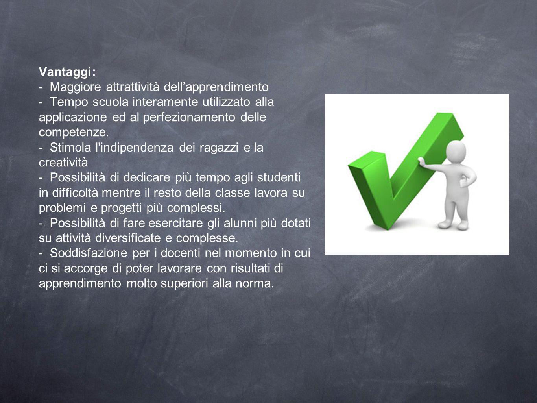 Vantaggi: - Maggiore attrattività dell'apprendimento - Tempo scuola interamente utilizzato alla applicazione ed al perfezionamento delle competenze.