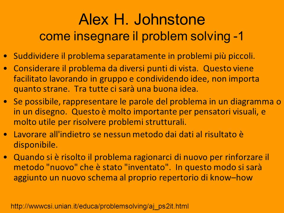 Alex H. Johnstone come insegnare il problem solving -1