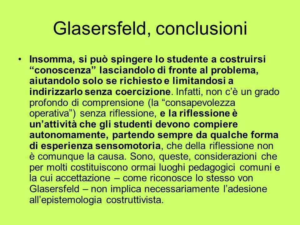 Glasersfeld, conclusioni