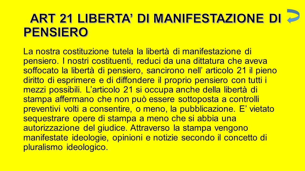 ART 21 LIBERTA' DI MANIFESTAZIONE DI PENSIERO