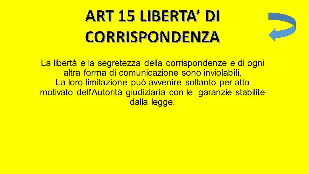 ART 15 LIBERTA' DI CORRISPONDENZA