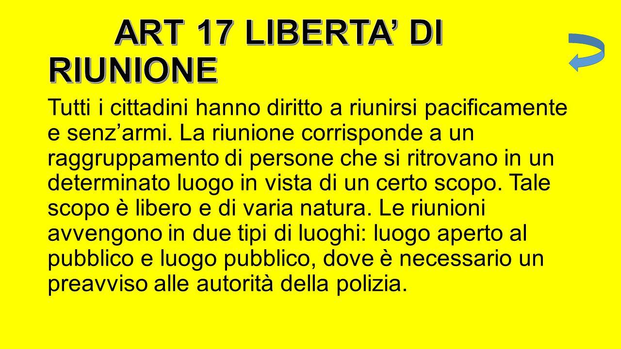 ART 17 LIBERTA' DI RIUNIONE
