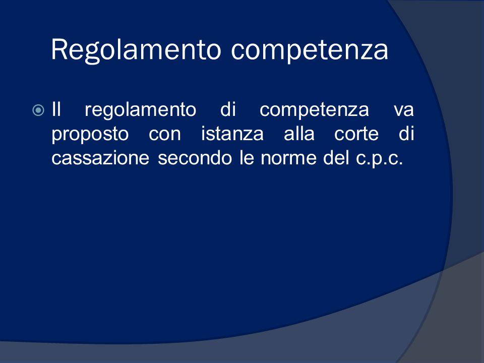 Regolamento competenza