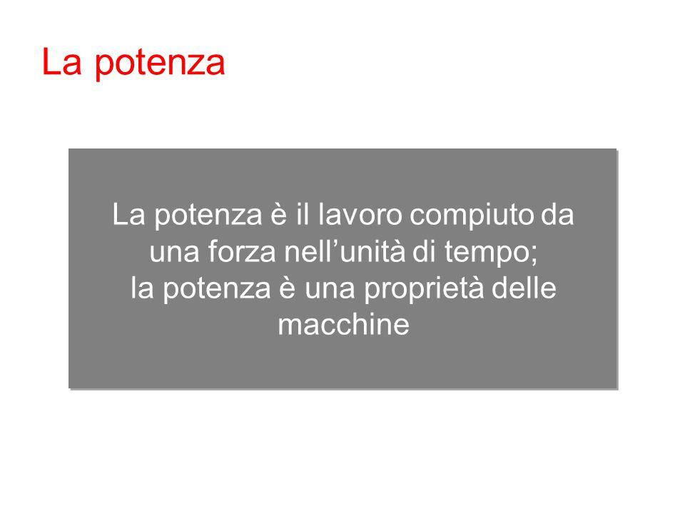 La potenza La potenza è il lavoro compiuto da una forza nell'unità di tempo; la potenza è una proprietà delle macchine.
