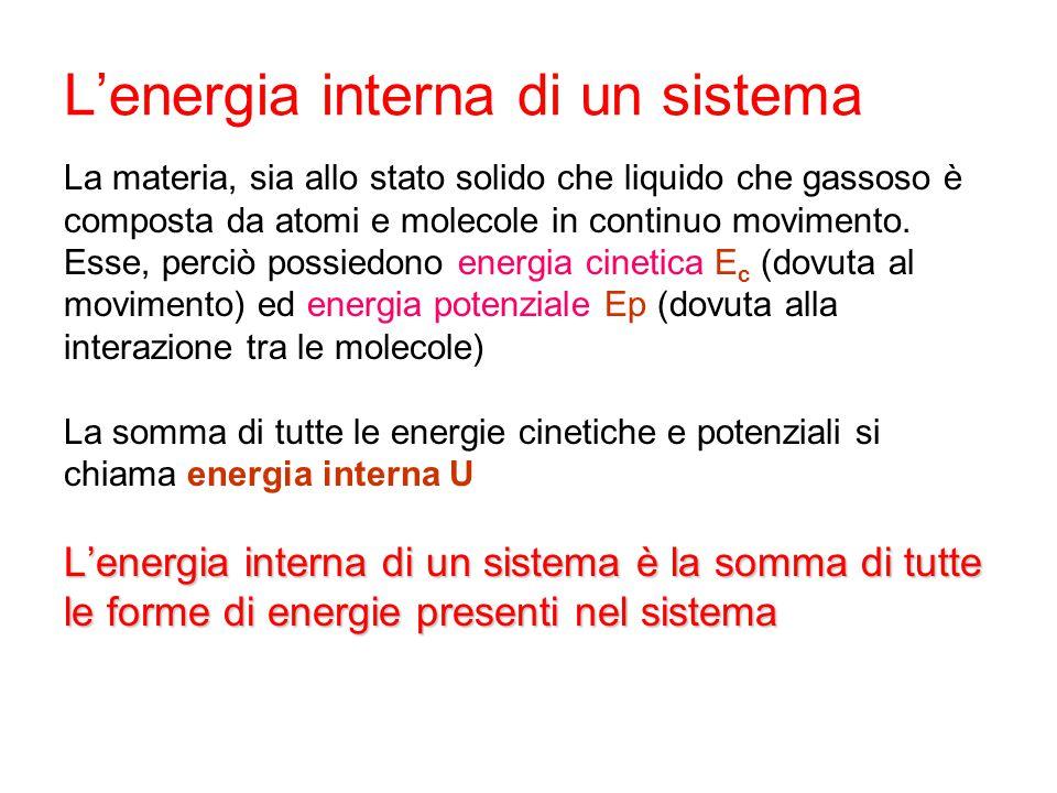 L'energia interna di un sistema