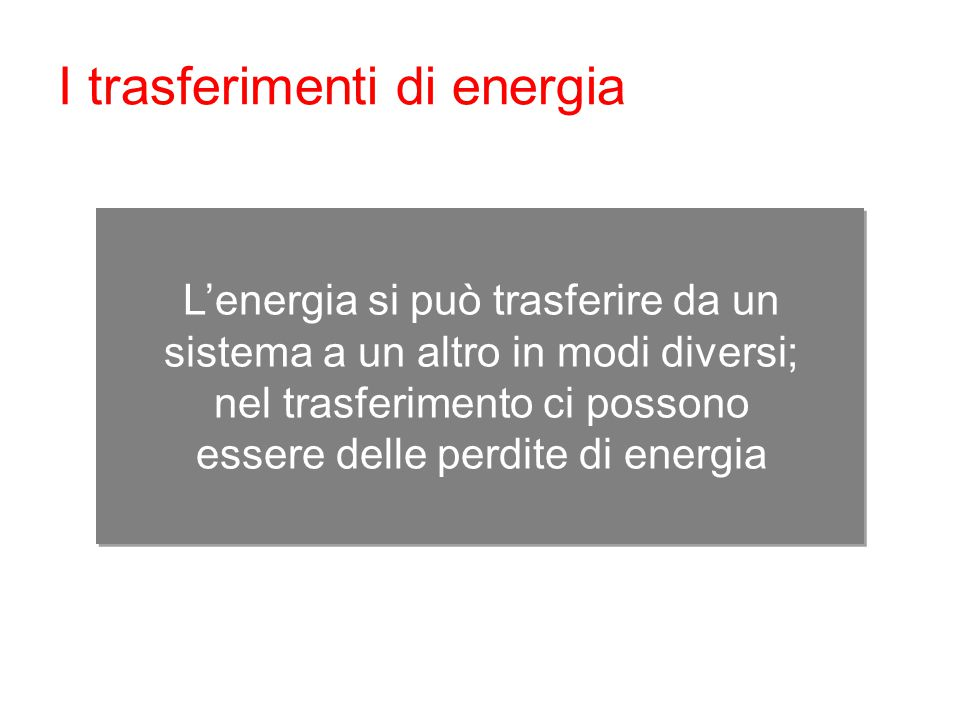 I trasferimenti di energia