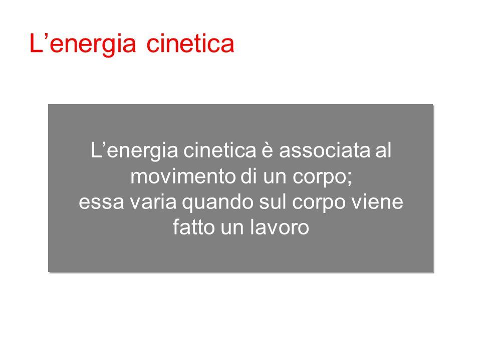 L'energia cinetica L'energia cinetica è associata al movimento di un corpo; essa varia quando sul corpo viene fatto un lavoro.