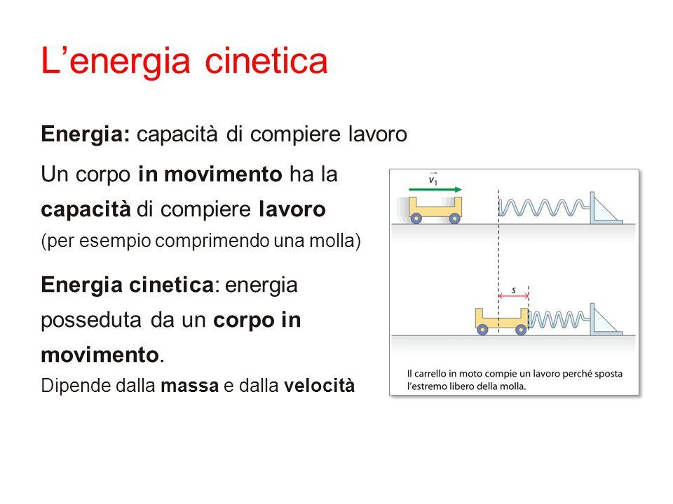 L'energia cinetica Energia: capacità di compiere lavoro
