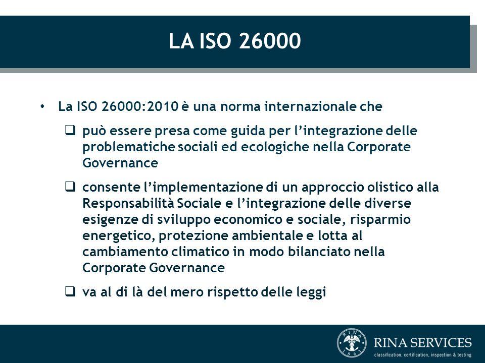 LA ISO 26000 La ISO 26000:2010 è una norma internazionale che