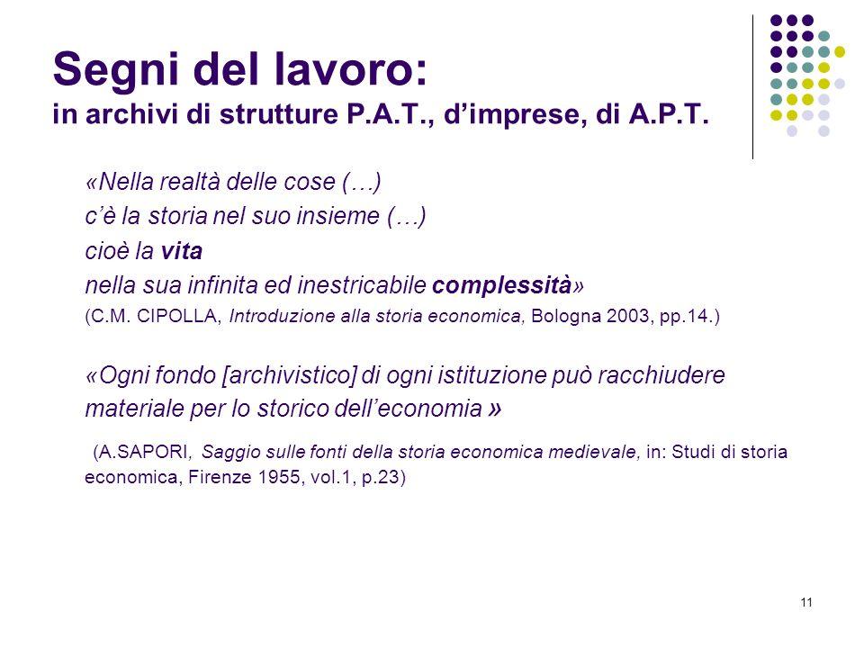 Segni del lavoro: in archivi di strutture P.A.T., d'imprese, di A.P.T.