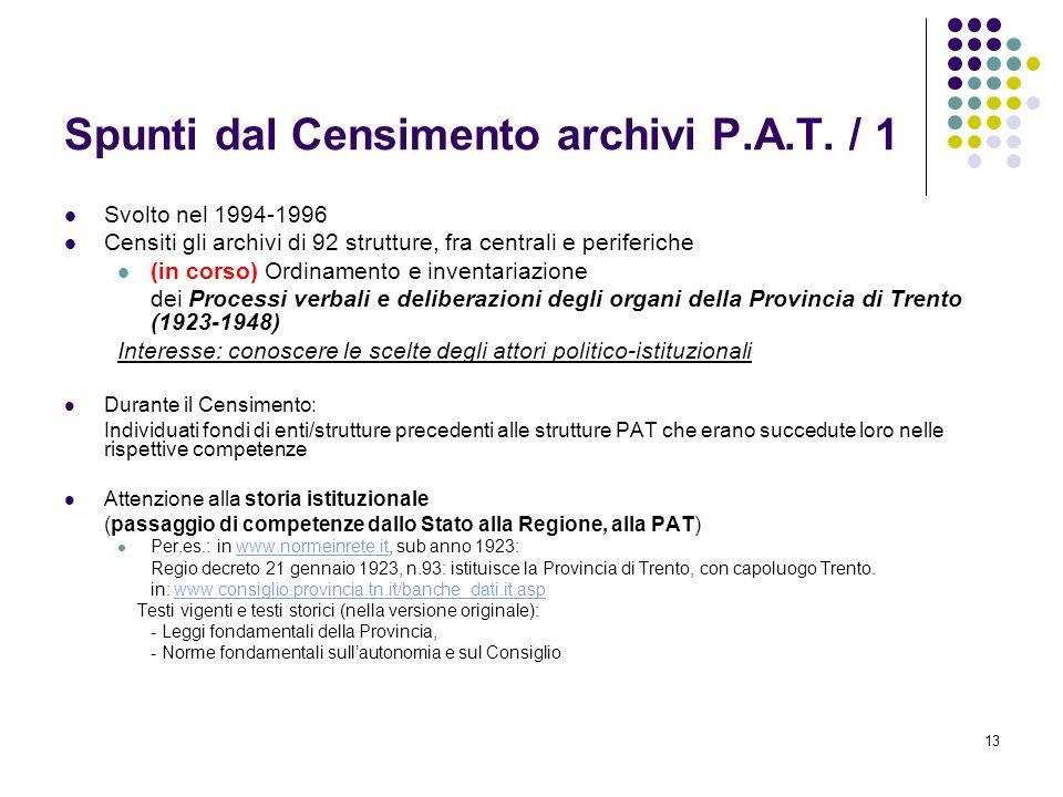 Spunti dal Censimento archivi P.A.T. / 1