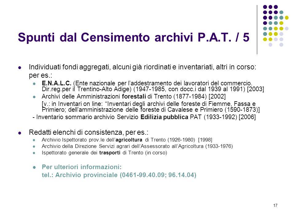 Spunti dal Censimento archivi P.A.T. / 5