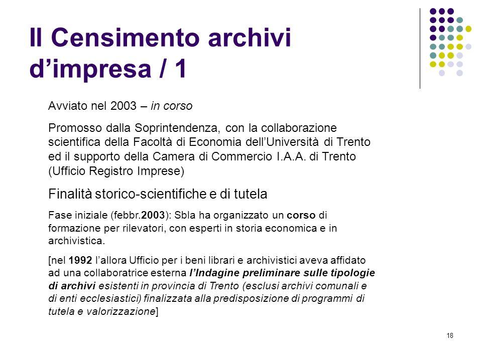 Il Censimento archivi d'impresa / 1