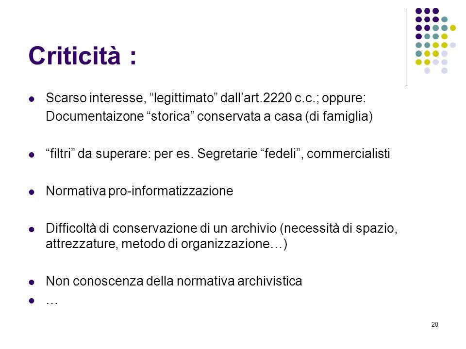 Criticità : Scarso interesse, legittimato dall'art.2220 c.c.; oppure: Documentaizone storica conservata a casa (di famiglia)