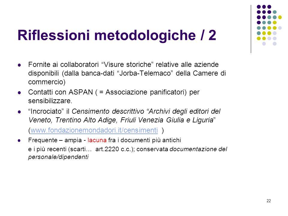 Riflessioni metodologiche / 2
