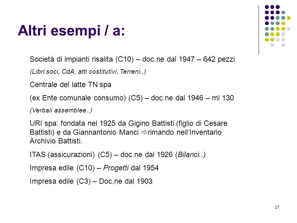 Altri esempi / a: Società di impianti risalita (C10) – doc.ne dal 1947 – 642 pezzi. (Libri soci, CdA, atti costitutivi, Terreni..)