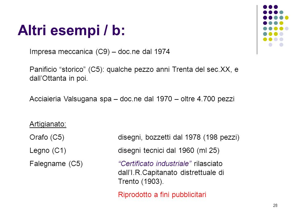 Altri esempi / b: Impresa meccanica (C9) – doc.ne dal 1974