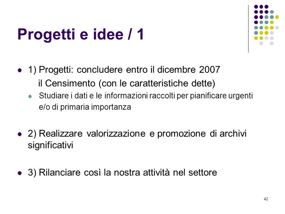 Progetti e idee / 1 1) Progetti: concludere entro il dicembre 2007