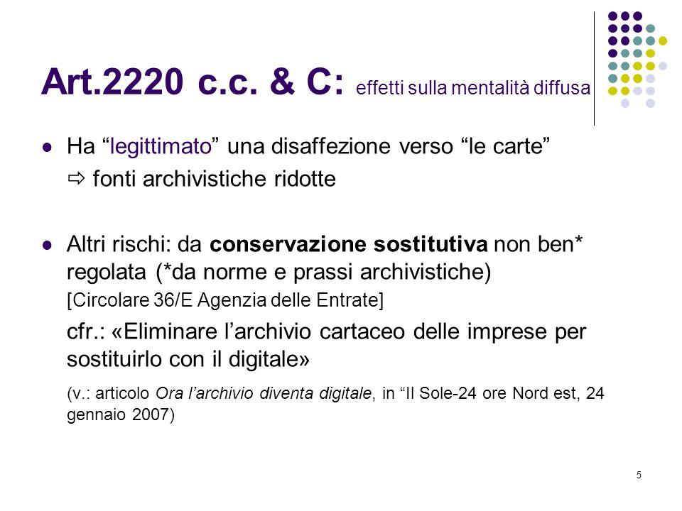 Art.2220 c.c. & C: effetti sulla mentalità diffusa