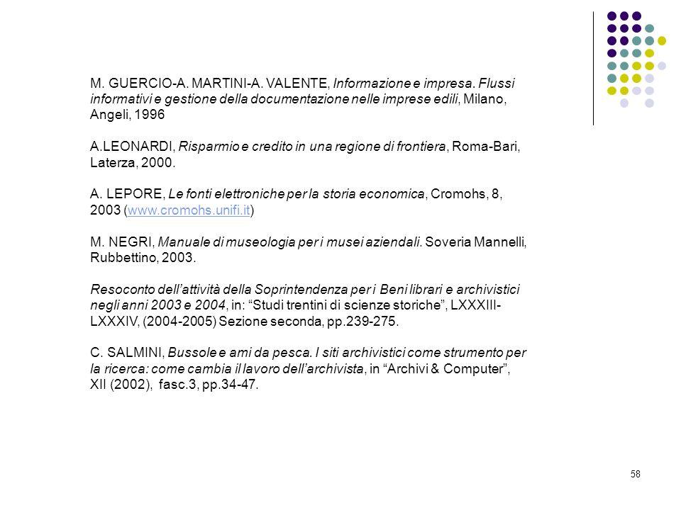 M. GUERCIO-A. MARTINI-A. VALENTE, Informazione e impresa
