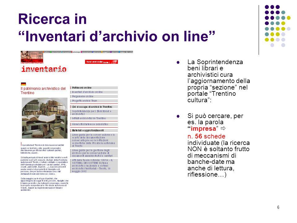 Ricerca in Inventari d'archivio on line