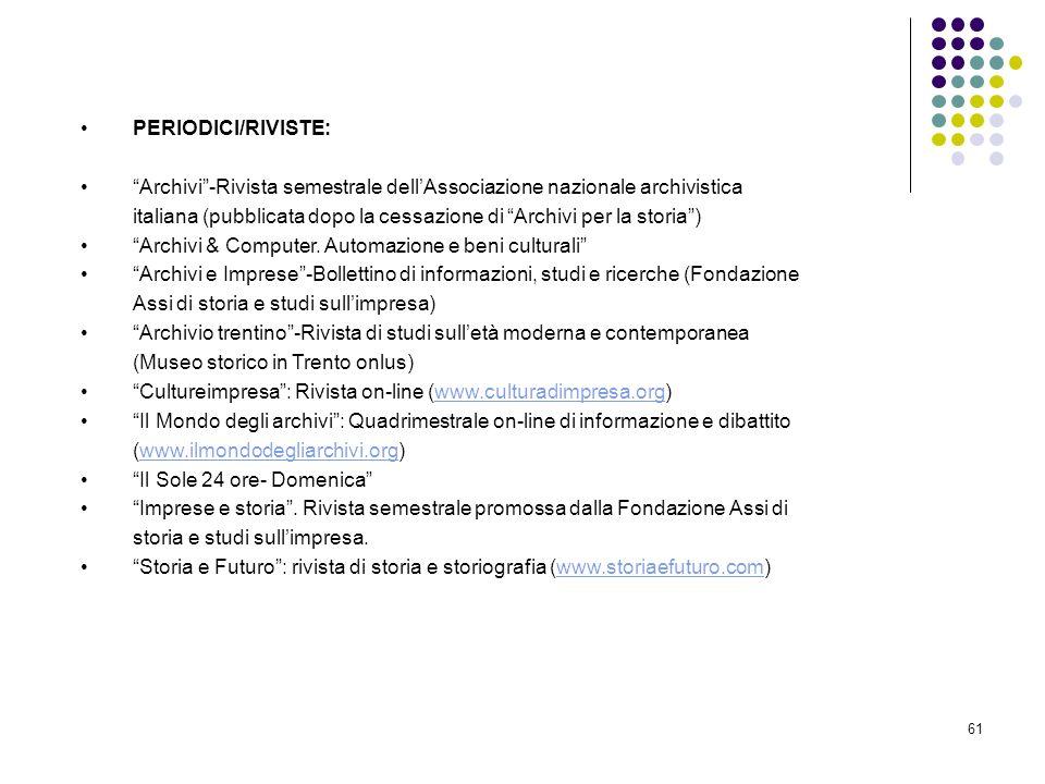 PERIODICI/RIVISTE: