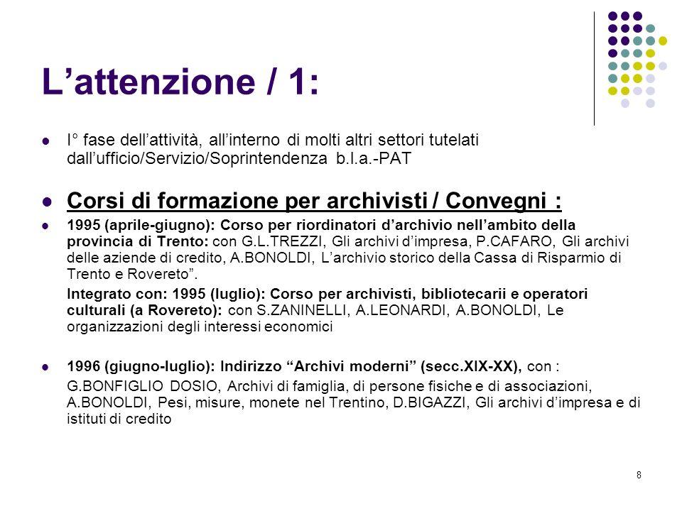 L'attenzione / 1: Corsi di formazione per archivisti / Convegni :