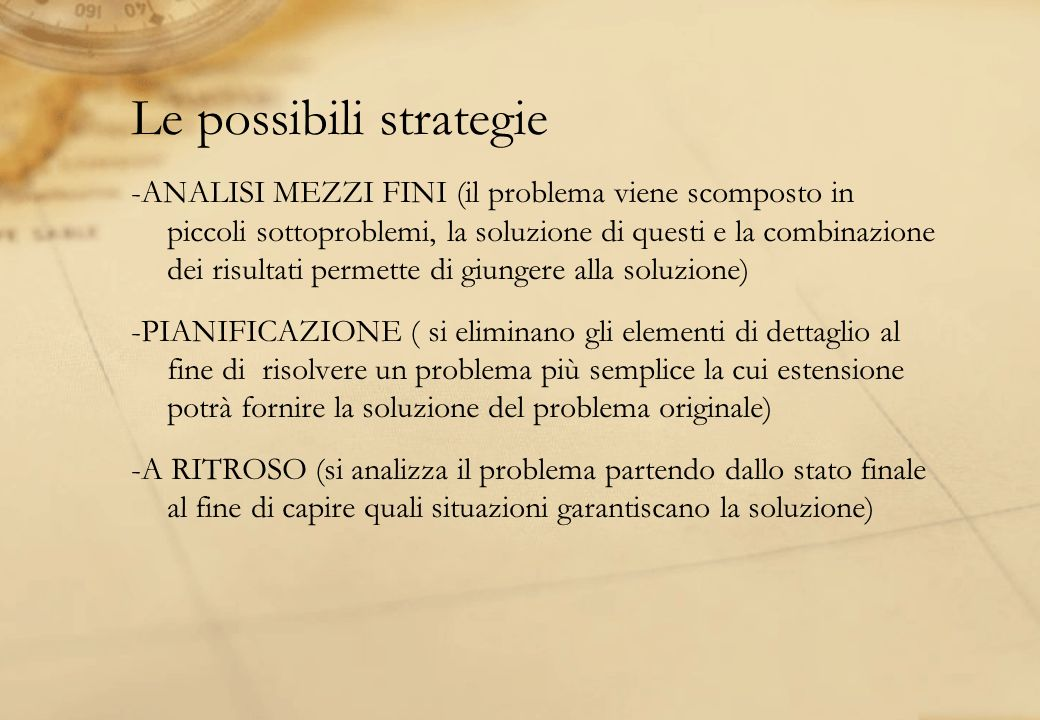 Le possibili strategie