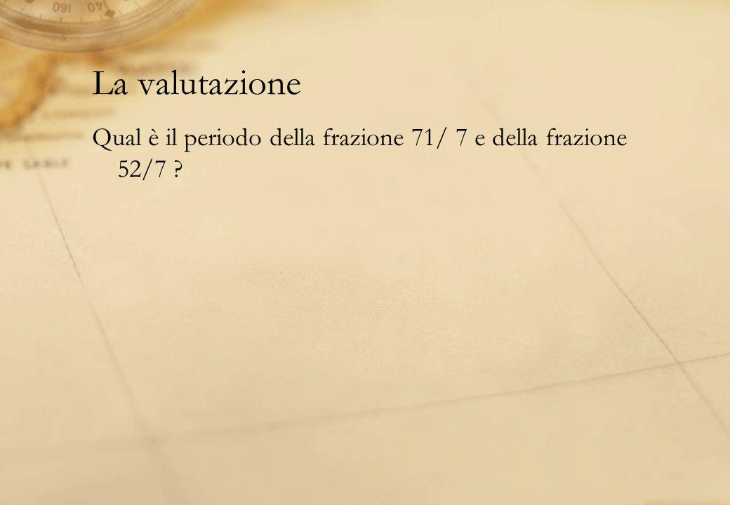 La valutazione Qual è il periodo della frazione 71/ 7 e della frazione 52/7