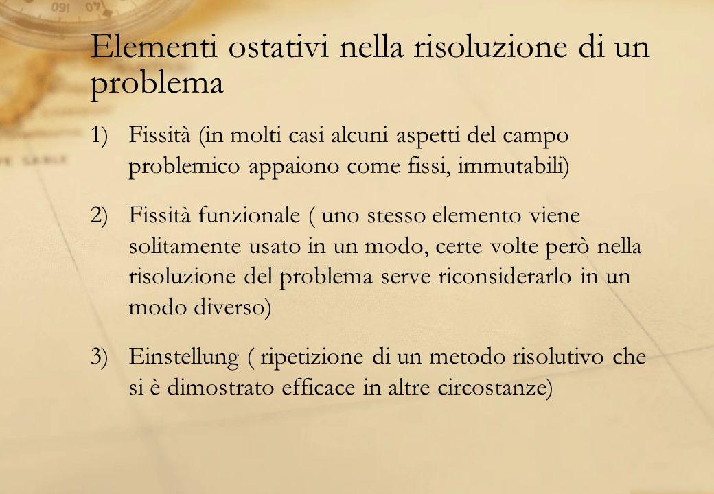 Elementi ostativi nella risoluzione di un problema