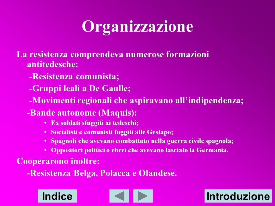 Organizzazione Indice Introduzione