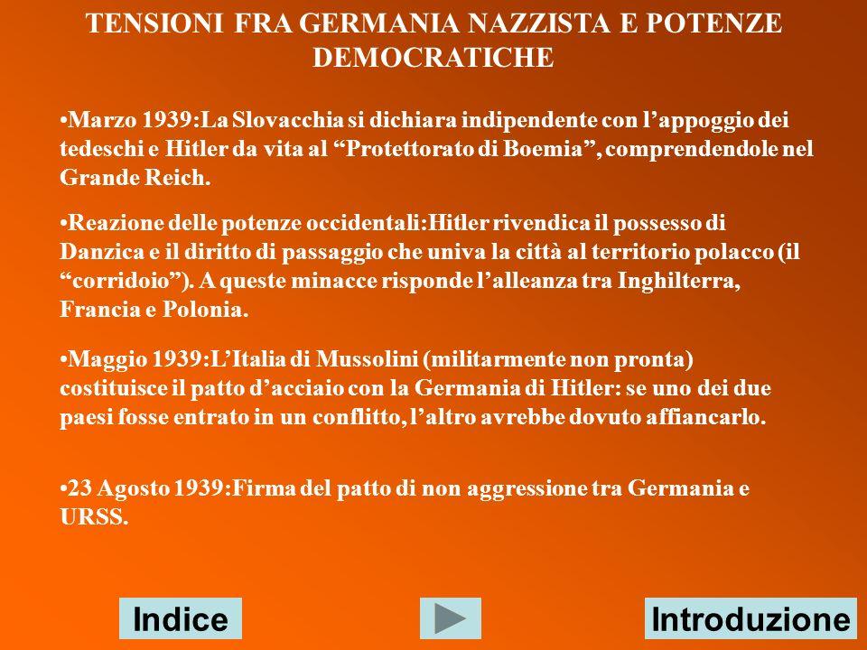 TENSIONI FRA GERMANIA NAZZISTA E POTENZE DEMOCRATICHE