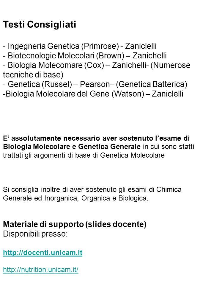 Testi Consigliati - Ingegneria Genetica (Primrose) - Zaniclelli
