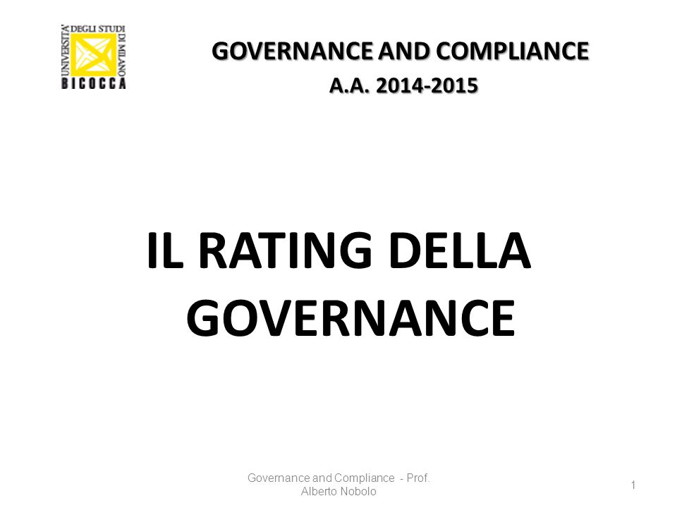 GOVERNANCE AND COMPLIANCE A.A. 2014-2015