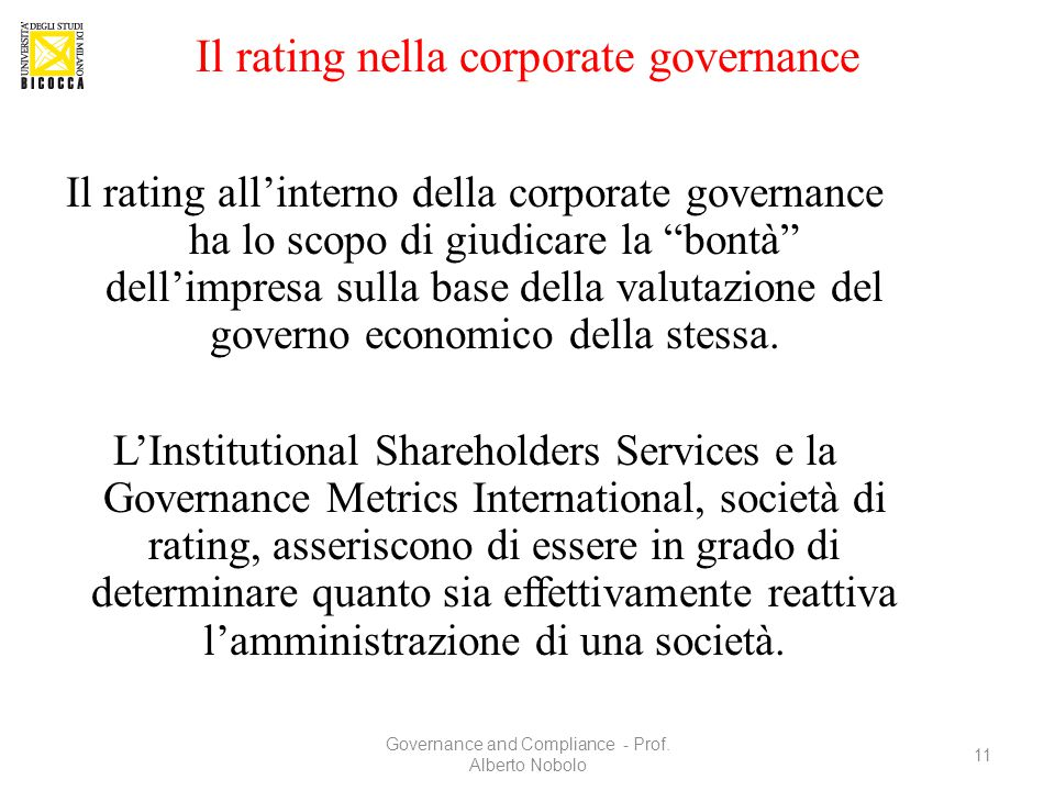 Il rating nella corporate governance
