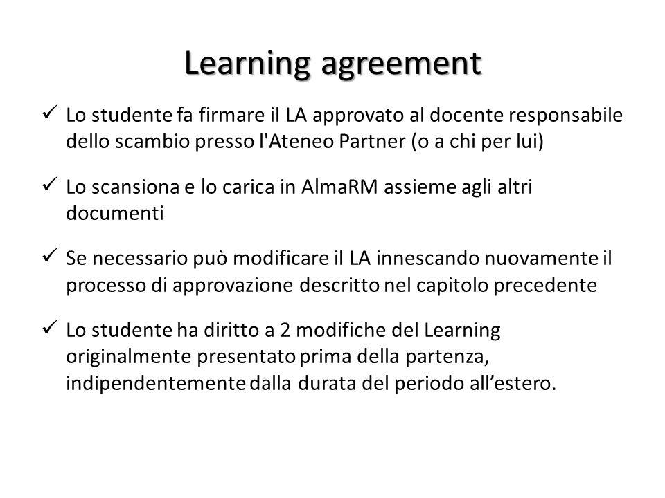 Learning agreement Lo studente fa firmare il LA approvato al docente responsabile dello scambio presso l Ateneo Partner (o a chi per lui)