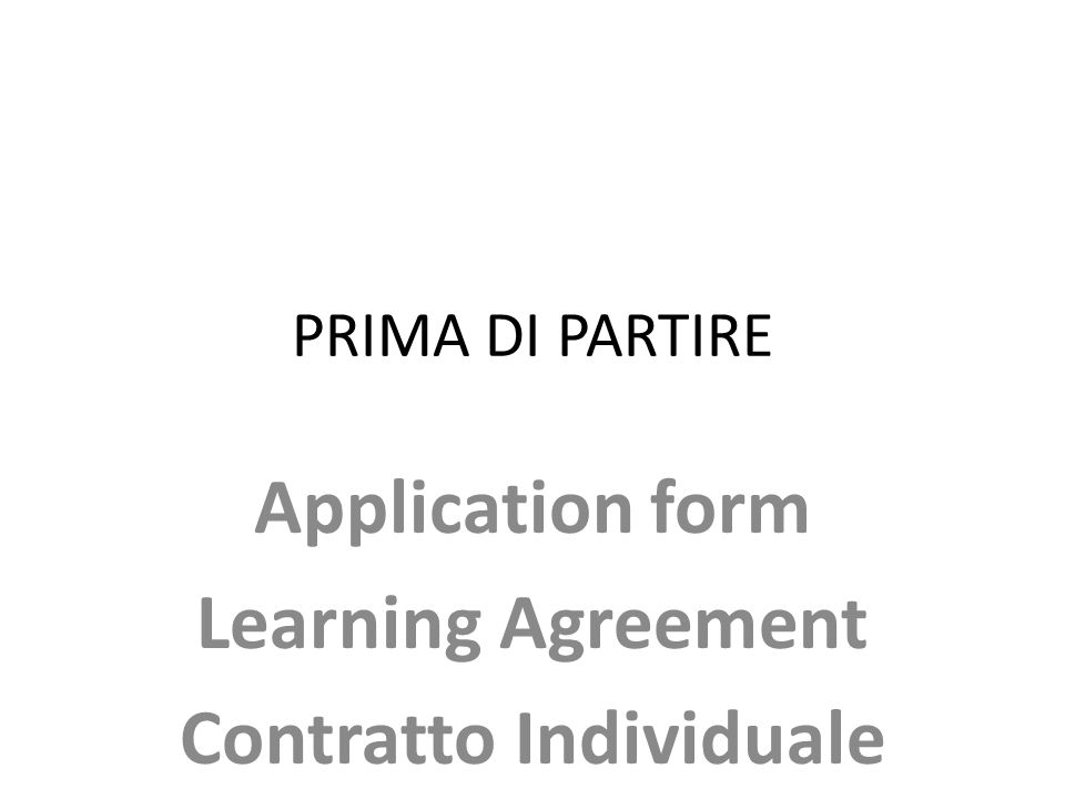 Application form Learning Agreement Contratto Individuale