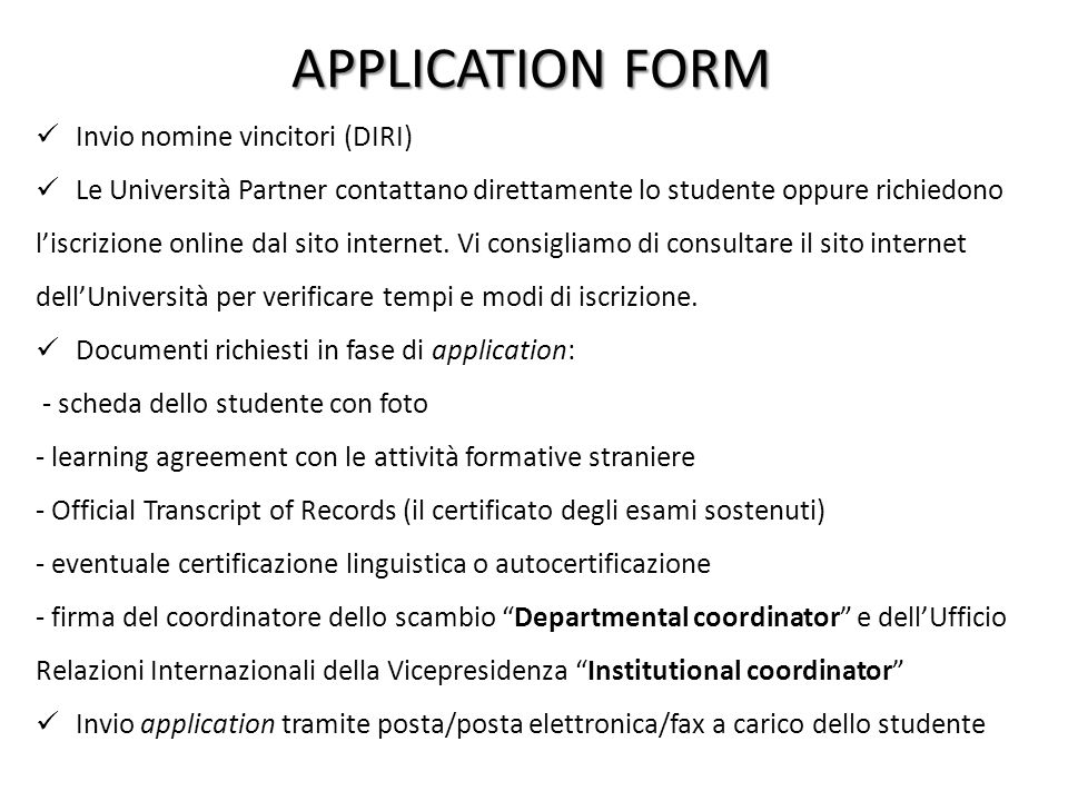APPLICATION FORM Invio nomine vincitori (DIRI)