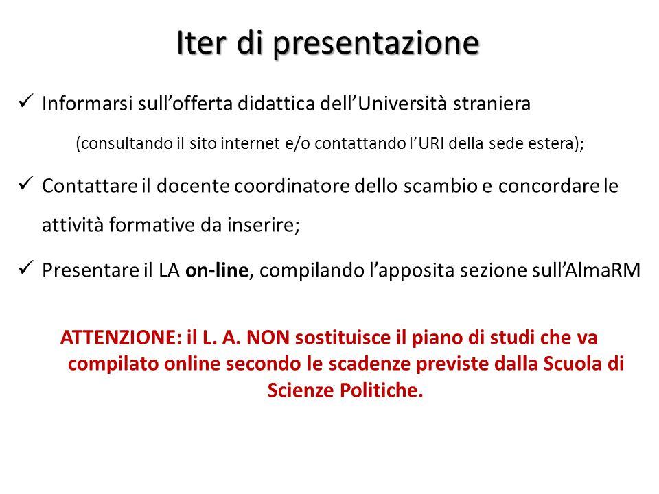 Iter di presentazione Informarsi sull'offerta didattica dell'Università straniera.