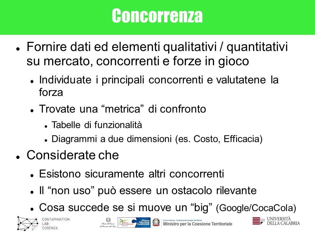 Concorrenza Fornire dati ed elementi qualitativi / quantitativi su mercato, concorrenti e forze in gioco.