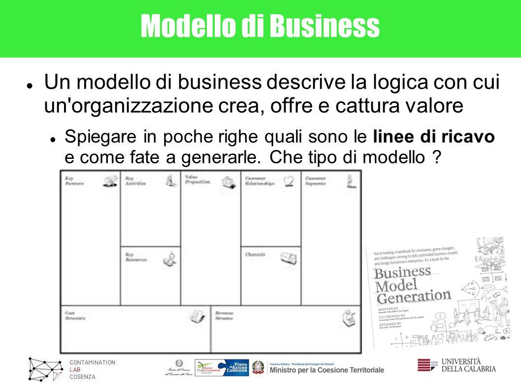 Modello di Business Un modello di business descrive la logica con cui un organizzazione crea, offre e cattura valore.
