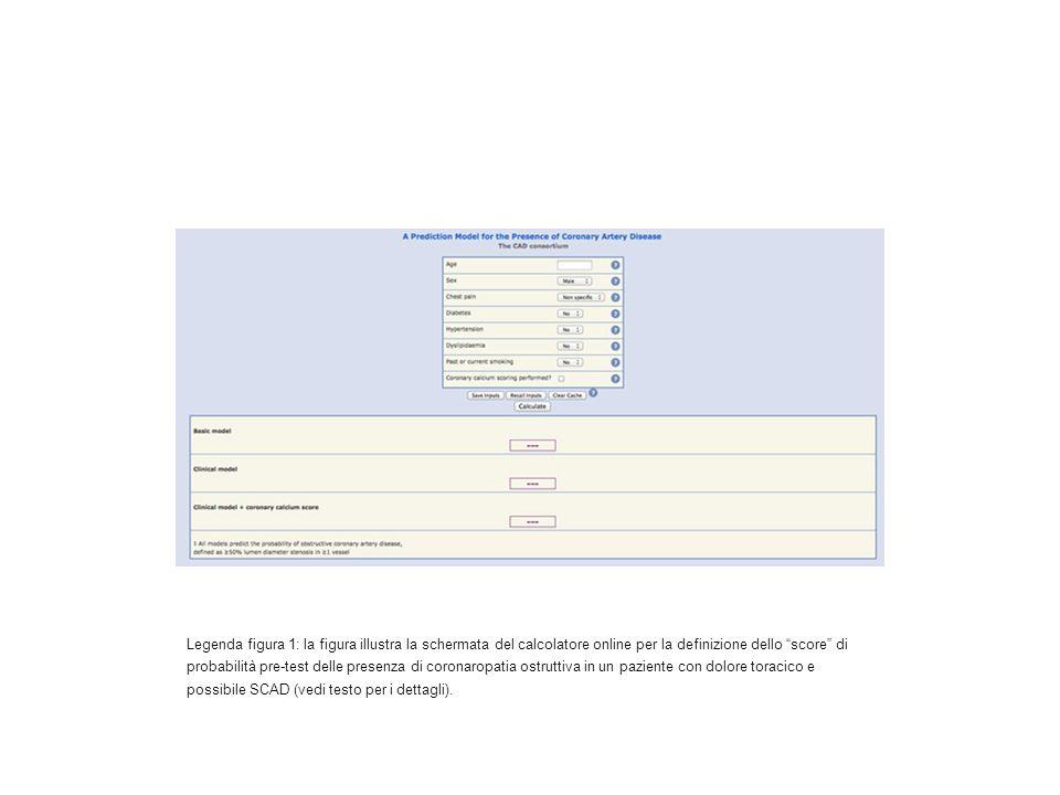 Legenda figura 1: la figura illustra la schermata del calcolatore online per la definizione dello score di probabilità pre-test delle presenza di coronaropatia ostruttiva in un paziente con dolore toracico e possibile SCAD (vedi testo per i dettagli).