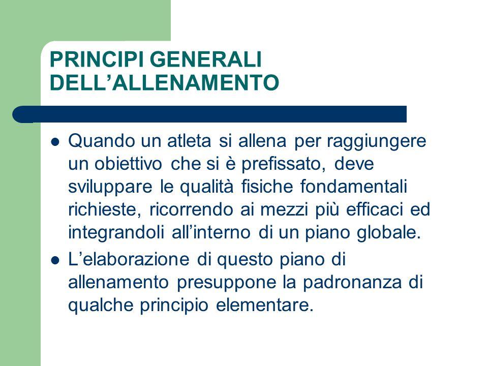 PRINCIPI GENERALI DELL'ALLENAMENTO