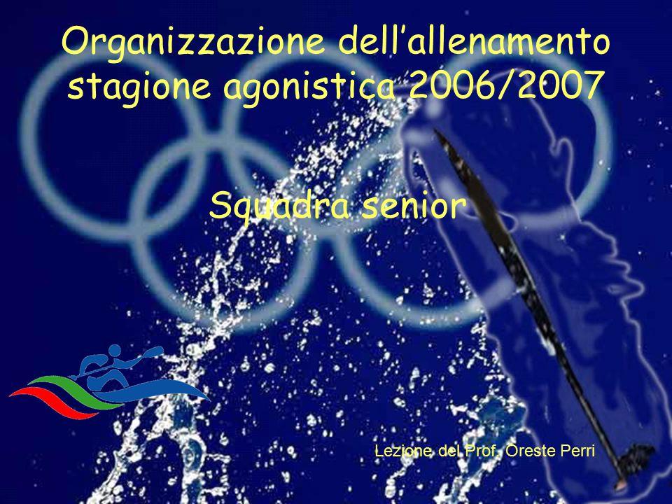 Organizzazione dell'allenamento stagione agonistica 2006/2007